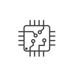 integrated circuit chip icon graphic design vector image