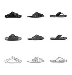 Isolated object of shoe and footwear symbol set vector