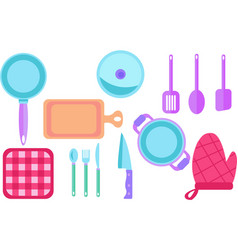 Kitchen utensils and tools from above vector