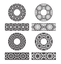 lace brushes templates and round decorations in vector image