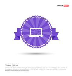 Laptop icon - purple ribbon banner vector