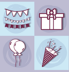 Line set happy birthday celebration icon vector