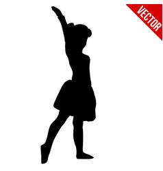 little girl silhouette doing ballet vector image