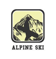 Logo design alpine ski with silhouette man vector