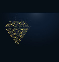 Luxury diamond icon from lines and particle vector