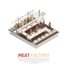 Meat factory isometric composition vector