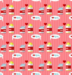 milk cartons seamless pattern vector image