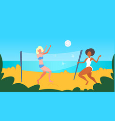 mix race women couple playing volleyball girls vector image