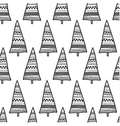 monochrome doodle christmas trees seamless vector image