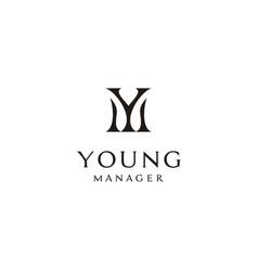 monogram initials ym my logo design inspiration vector image