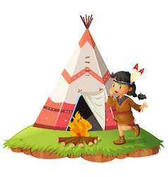 Native american woth teepee vector
