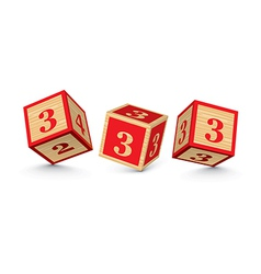 number 3 wooden alphabet blocks vector image