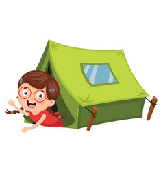 Of kids camping vector