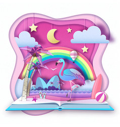 Open fairy tale book with flamingo and tropic vector