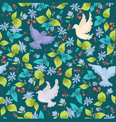 pattern with colorful doves and flowers vector image