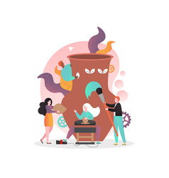 Pottery concept for web banner website vector