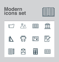School icons set with calculator essay writing vector