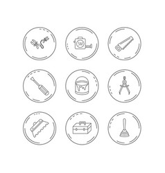 screwdriver plunger and repair toolbox icons vector image