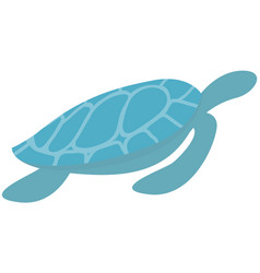 sea blue turtle swimming on white background vector image