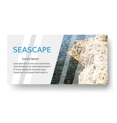 Seascape blue tropical sea with a rocky shore sea vector
