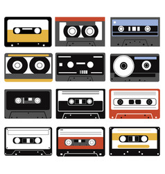 set audio cassettes collection compact vector image