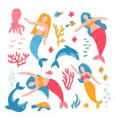 set cute adult mermaid girls starfish vector image