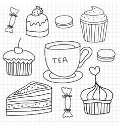 set hand drawn cakes sweets tea cup vector image