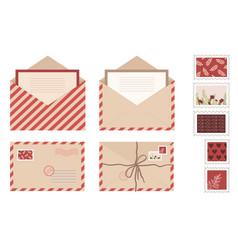 Set kraft envelope letter and post cards vector