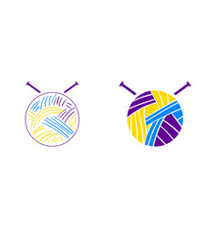 Set of yarn and knitting needles logo for craft vector