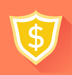shield with money in flat style with dollar on vector image