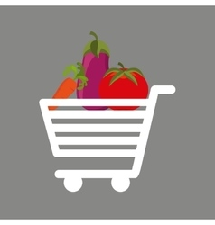 shopping cart fresh vegetales food vector image