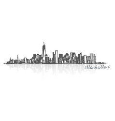 Sketch of manhattan new york vector