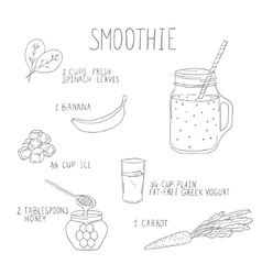 Smoothie recipe with a bottle and ingredients vector image