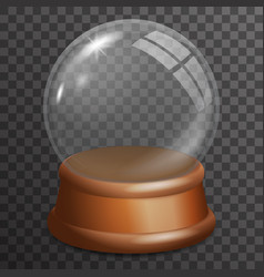 snow glass ball highlight wooden stand 3d vector image vector image