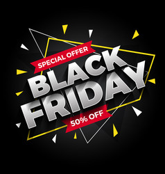 special offer black friday sale banner background vector image