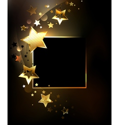 Square Banner with Gold Stars vector