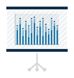 statistical chart with bars on projector screen vector image