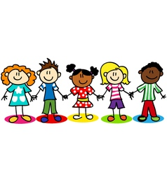 Stick-figure-ethnic-diversity-kids-T vector image