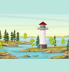 Summer landsape with lighthouse vector