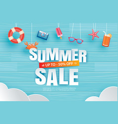 Summer sale with decoration origami hanging on vector