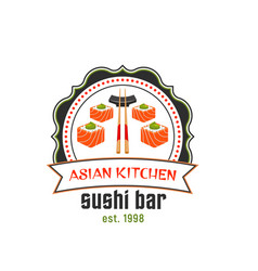 sushi bar icon for asian cuisine restaurant design vector image