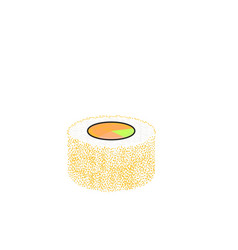 sushi roll with salmon and caviar traditional vector image