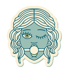 Tattoo style sticker winking female face with vector