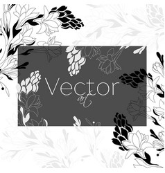 Template design floral art black and white vector
