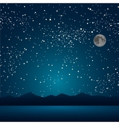 The lake the mountains the starry sky eps 10 vector