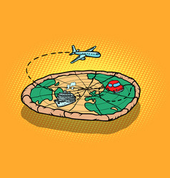 Travel tourism concept pizza planet earth and vector