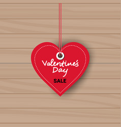 valentines day sale sticker discount tag on wooden vector image