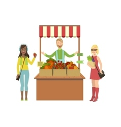 Vegetable Stand Of Farm Fresh Products With Seller vector