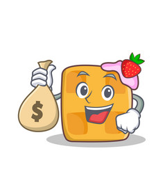 waffle character cartoon design with money bag vector image
