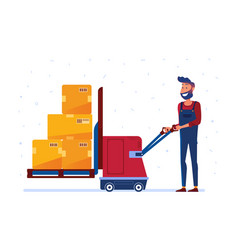 warehouse worker is loading boxes with electric vector image